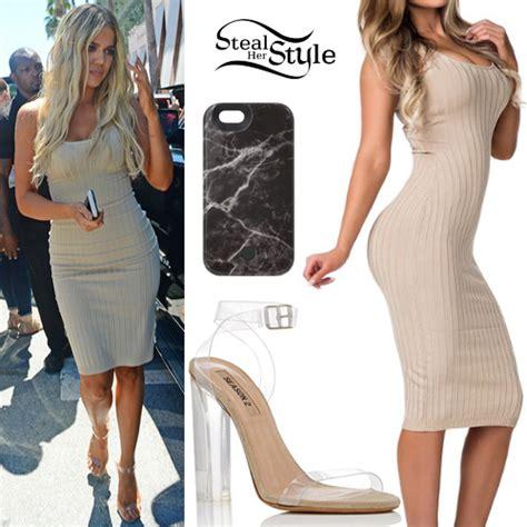 Khloe Kardashian: Nude Ribbed Dress, Perspex Sandals ...