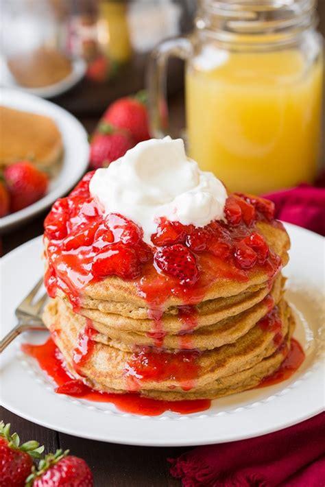 wheat pancakes  honey sweetened strawberry