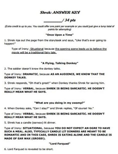 irony worksheet teaching with the movie shrek by the time thrifty teacher