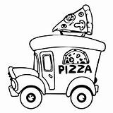 Pizza Coloring Pages Printable Steve Drawing Slice Truck Preschool Banana Getcolorings Split Getdrawings Clipart Toddler Dishes Delivery Colorings Toppings sketch template
