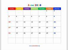 June 2018 Calendar Cute calendar month printable