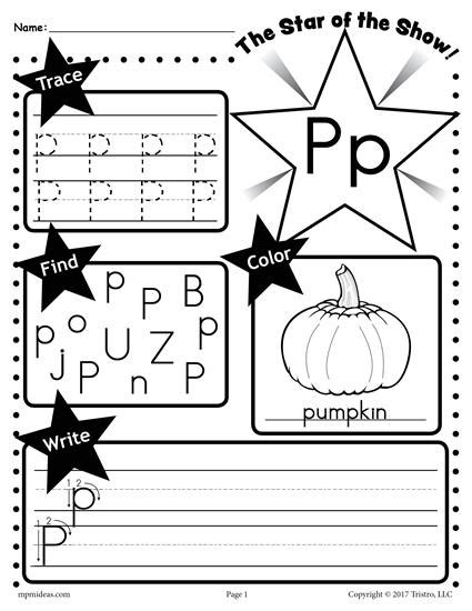 free letter p worksheet tracing coloring writing more