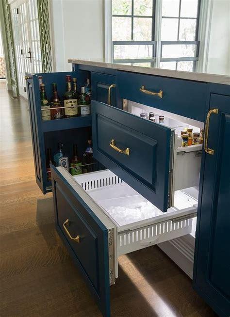 blue center island features  beverage drawer