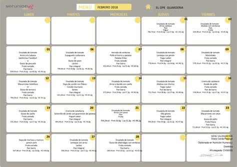 menu comedor men 218 comedor escolar febrero colegio el ope