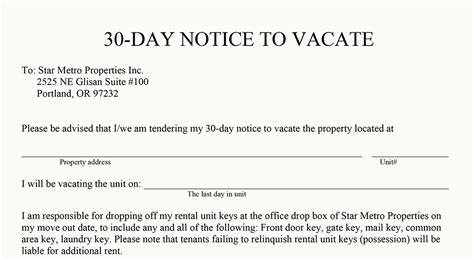 30 day notice to vacate letter we re going to florida