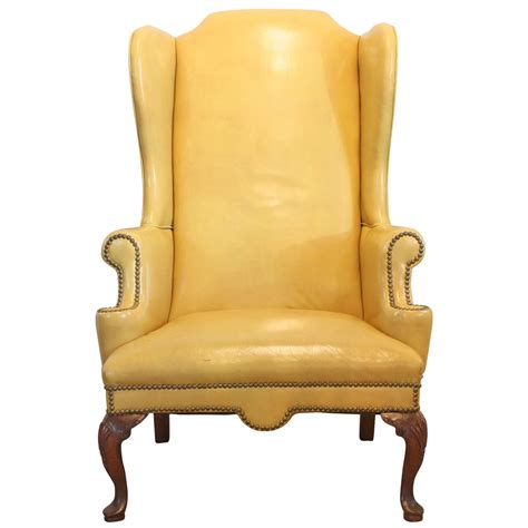 leather chair mustard yellow leather wing chair at 1stdibs