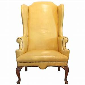 Furniture: Best Yellow Leather Wingback Chair With