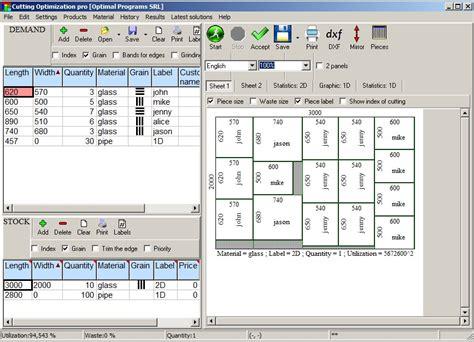 cutting optimization sheet panel glass wood pipes