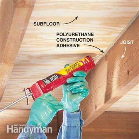 how to repair a squeaky floor the family handyman