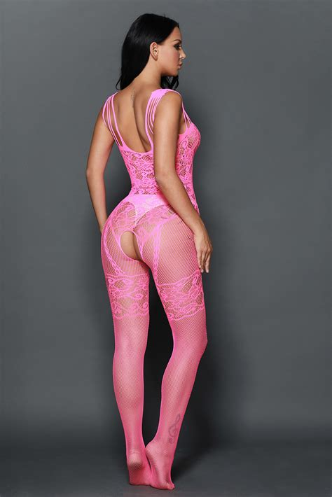 Neon Pink Strappy Shoulders Floral Motif Mesh Body Stocking