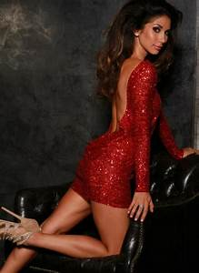 Red sequin classic backless dress by Leiluna Collection ...  Red