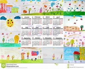Calendario Hermoso Para 2016 Con Los Dibujos De Los Niños
