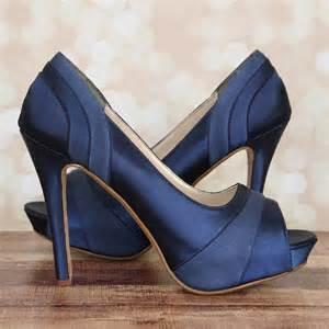 navy blue bridesmaid shoes custom wedding shoes navy blue platform peep toe wedding