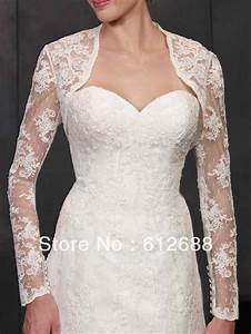 2014 new fashion lace pattern with appliques long sleeve With lace shrug for wedding dress