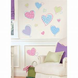 New pink purple blue hearts wall decals girls bedroom