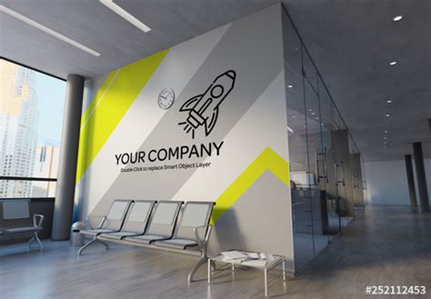 office wall mural mockup buy  stock template