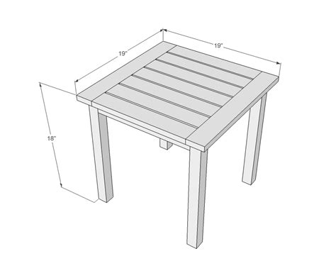 outdoor table dimensions ana white simple white outdoor end table diy projects