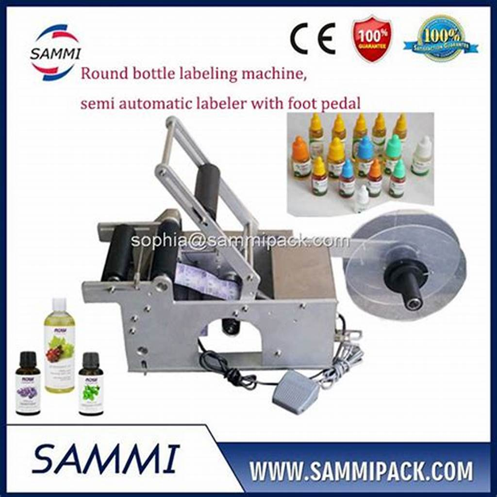 #Semi #Automatic #Sticker #Labeling #Machine #For #Round #Bottle