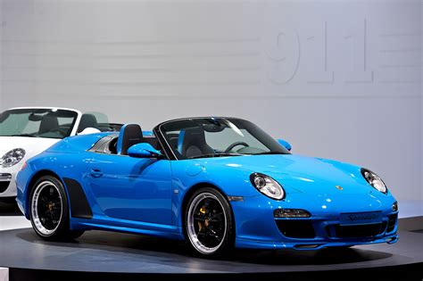 blue porsche convertible file 2010 blue porsche 911 speedster 997 mondial paris