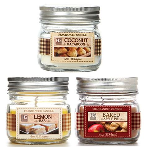 home interiors candles baked apple pie hosley s set of 3 jars candles baked apple pie coconut macaroon lemon bar 4oz each we hand