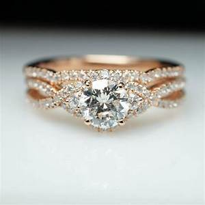 14k rose gold diamond halo engagement ring wedding band With three ring diamond wedding sets