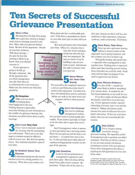 seiu grievance form 10 secrets of successful grievance presentation