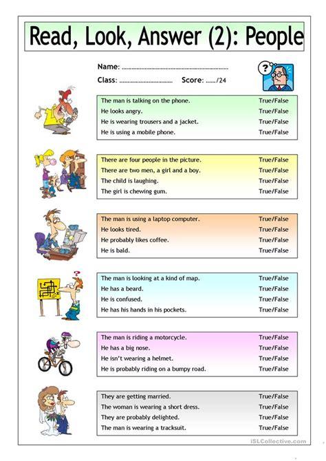 read  answer people  worksheet  esl