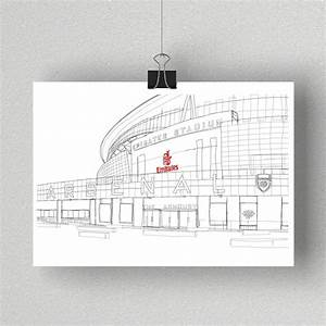 The Emirates Stadium  Arsenal Signed Print By Simon Harmer