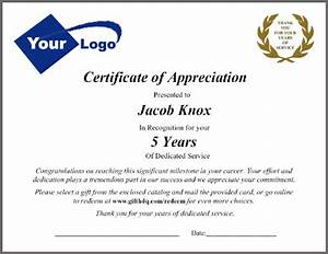 employee service awards packets and letters customizing With recognition of service certificate template