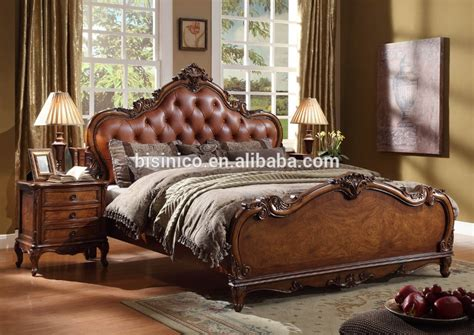 American Style Solid Wood King Size Leather Bed/wooden