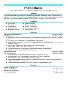professional resume for social services best behavior specialist resume exle livecareer
