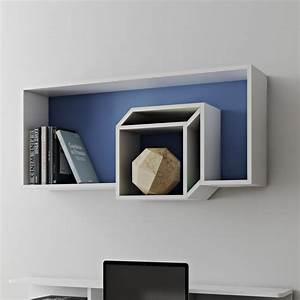 Etagere Cube Blanc : temahome tag re murale cube cubic 100cm bleu fonc blanc ~ Teatrodelosmanantiales.com Idées de Décoration