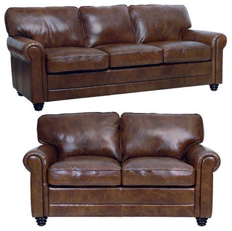genuine leather sofa and loveseat genuine italian leather sofa and loveseat in brown