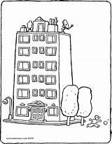 Building Coloring Appartement Kleurplaat Colouring Apartment Mehrfamilienhaus Kiddicolour Flats Immeuble Blocks Coloriage Welcome Gebouwen Imprimer Kiddicoloriage Drawing Tekeningen Wonen Pisos sketch template