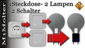 Lichtschalter Mit Licht : anschluss steckdose u 2 lampen 2 schalter am schaubild von m1molter youtube ~ A.2002-acura-tl-radio.info Haus und Dekorationen