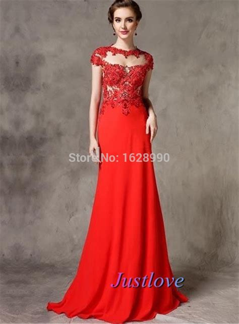 2015 Short Sleeve Red Evening Dresses Long O neck Lace ...