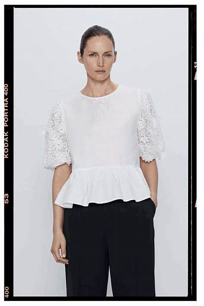 Embroidered Blouses Under Sheerluxe Poplin Contrast Sleeves