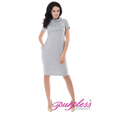 light purple maternity dress purpless maternity nursing funnel neck dress 6225 light