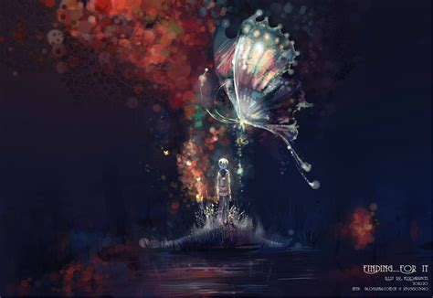 Anime Butterfly Wallpaper - paintings multicolor butterfly anime anime