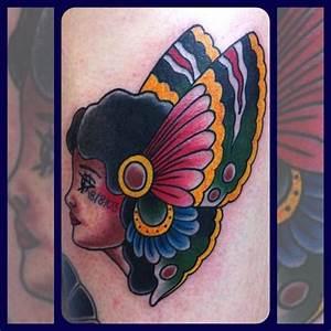 Old School Women Butterfly Tattoo by Forever True Tattoo