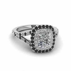 Cushion cut diamond double halo engagement ring with black for Black wedding rings with diamonds