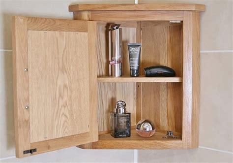 Solid Oak Wall Mounted Corner Bathroom Cabinet 601