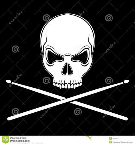 vector jolly roger skull  drumsticks stock