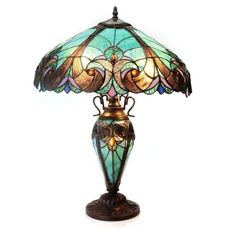 double lit tiffany style ls tiffany style 24 5 quot halston double lit stained glass table