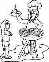 Barbecue Clipart Bbq Dad Coloring Clip Library Watching sketch template