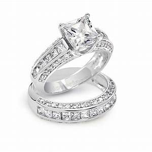 Victoria wieck princess cut topaz simulated diamond 10kt for Princess cut engagement rings with wedding band