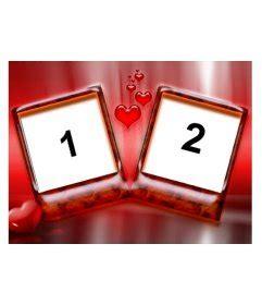marco  dos fotos  fondo de color rojo  corazones