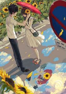 Anime couple. This is so cute :) i love how they are ...