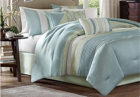 brenna blue green 7 pc king comforter set king linens blue - Blue Comforter Set King