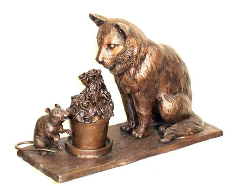 bronze animal statues cats dogs elephant garden statues